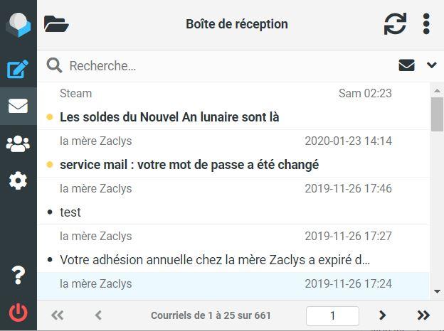 Service mail : webmail compatible mobile (responsive)